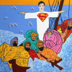 Superman calms the storm so that Ali Baba and mates can return home