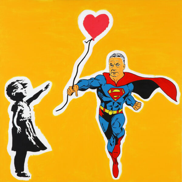 Viktor Orbán returns the balloon blown away by the cold wind of Brexit to the little girl and asks her in return to give birth to three christian children in Banksy's Studio