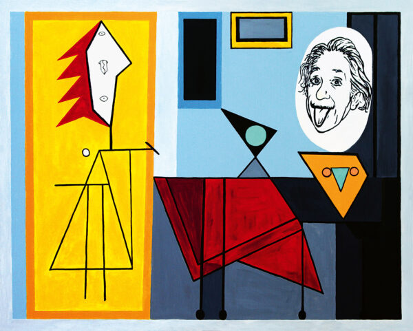 Einstein turns into a tongue stiching woman in Picasso's Studio